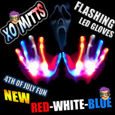 4TH OF JULY USA Red-White-Blue LED Raver Flashing Light Up Magic Mitt LED Gloves