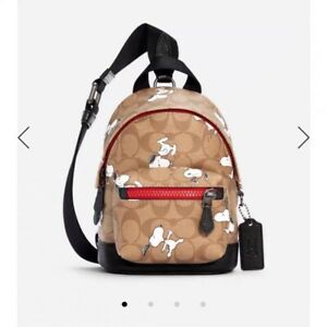 COACH X Peanuts Small West Backpack Crossbody In Signature Canvas w/ Snoopy