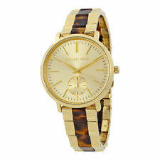 NEW MICHAEL KORS WOMEN'S JARYN GOLD STEEL TORTOISE ACETATE BRACELET WATCH MK3511