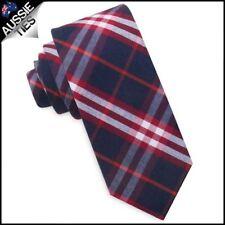 Dark Blue with Red & White Tartan Plaid Skinny Tie