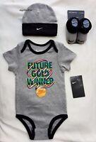 set 3 pezzi baby unisex neonato body + calze + cappello nike tutine 6 - 12 mesi