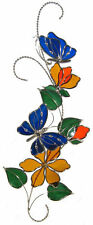 Stain Glass Blue Butterfly Scroll