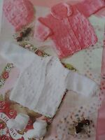 """Babies Knitting Pattern Cardigans Bonnet and Booties DK 14-22"""" chest Vintage"""