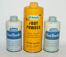3 Vintage Foot Powder Advertising Tins 2 Rexall 1 Dr Scholls                  RB