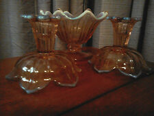Westmoreland glass pink opalescect Lotus pattern candlesticks and compote