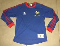 VTG 80's France style jersey Sz S away long sleeve shirt soccer football Adidas
