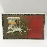Vintage Postcard A Christmas Greeting Winter wonderland Scene