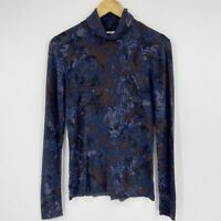 Coldwater Creek Cotton Blend Lightweight Turtleneck Sweater Blue Brown Floral S