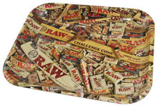 "RAW 7""X11"" inch METAL ROLLING TRAY ROLLING PAPER COLLAGE LOGO TOBACCO"