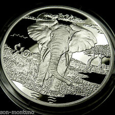 """2007 """"African Animals"""" ELEPHANT PROOF  Sierra Leone Bank Sterling Silver Coin"""