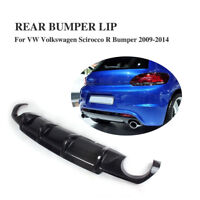 Carbon Fiber Rear Diffuser Bumper Lip Spoiler Fit for VW Scirocco R 2009-2014