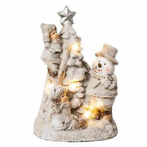 Dekofigur Winterkinder mit Schneemann LED beleuchtet Weihnachtsdeko innen weiß