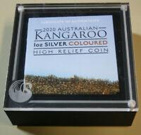 "Australien 1 Dollar ""Kangaroo"" Silber  #F3753 PP-Proof High Relief Coloured rare"