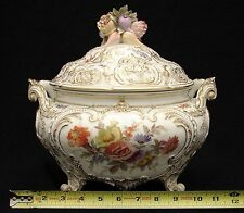 Large KPM Tureen Bowl w Second mark Hand Painted Gold & White w Floral Motif