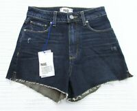 Paige Jeans Size 24 Dark Blue Denim Margot High Rise Frayed Hem Shorts NWT