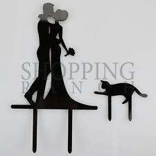 Wedding Cake Topper Mr & Mrs Pet Cat Black Acrylic Decoration