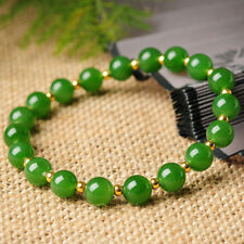 8MM Natural Green JADE Jadeite Round Beads Stretch Bracelet Bangle 7.5'' Y3349