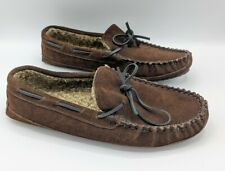 Minnetonka Men's Moccasins Slippers Size 13M Suede Plush Lining Brown 4175