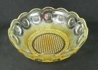 """Vtg Pressed Glass Serving Bowl 8"""" W Yellow Coin Dot Pattern Bubble Dot Base"""