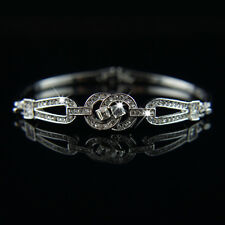 14k white Gold plated with Swarovski crystals classic bangle bracelet