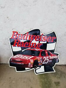 Vintage 1995 Budweiser Racing Ken Schrader #25 Embossed Tin Sign GARAGE BAR