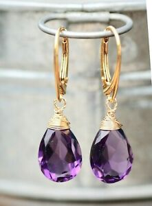 Lab Made Amethyst Earrings 14k Gold Filled Wire Wrapped , February Birthstone
