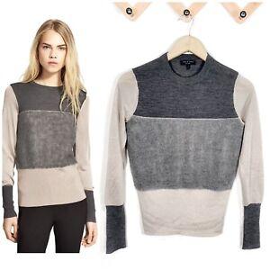 Rag & Bone Sweater Marissa Merino Wool Mixed Knit Color Block Women Size X Small