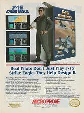 Vtg. 1991 Nintendo NES F-15 STRIKE EAGLE Micro Prose video game print ad page