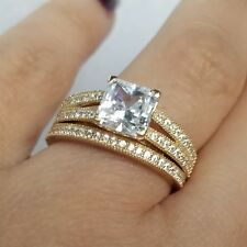 2 carat hers14k yellow Gold 2 piece square Engagement Wedding band Ring Set s 8