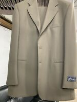 New 42L 3 Button Men's Olive Suit 100% Wool Made in Italy Retail $1295
