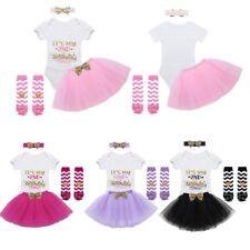 Casual 2nd Birthday Outfit Baby Girl Romper Tutu Skirt Bowknot Headband 4pcs Set