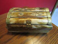 Camel Bone Brass Jewelry Box, BRASS DECOR ON COVER AND BODY[*87b]