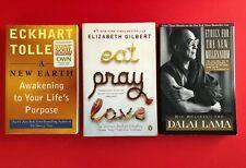 3 Lot book Eckhart Tolle~A New Earth Awakening~Dalai Lama~Elizabeth Gilbert PB