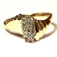 10k yellow gold .225ct SI3 I diamond cluster band ring 2g estate vintage womens