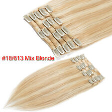 Black Brown Blonde 7 Pcs Clip In Real Remy Human Hair Extensions CLEARANCE G005