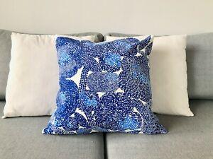 "Blue and White Cushion Cover handmade of Marimekko Mynsteri Fabric, 18"", Finland"