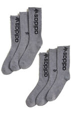 Adidas 6 Pair Pack Grey Crew Socks with Black Adidas Logo Men's Large 6-12