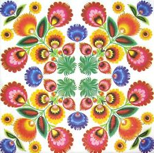 3 x Single Paper Napkins For Decoupage Red Yellow Blue Bright Ornaments M514