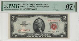 1953 C $2 LEGAL TENDER RED SEAL FR.1512 PMG CERTIFIED SUPERB GEM UNC 67 EPQ