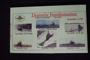 HP Models 1:700 WL  U-Boot-Set der Bundesmarine -5 Typen - 6 Stück -1962/2018-