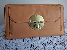 Mimco Honey Travel Wallet with Brushed Brass Badge RRP $229 -Express Post