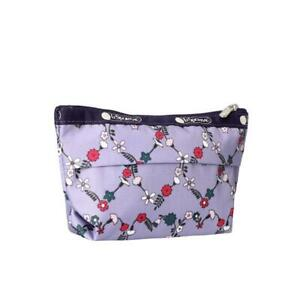 LeSportsac Classic Small Sloan Cosmetic Pouch in Hudson Hearts Purple NWT