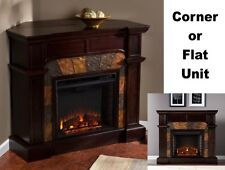 "Adjustable Electric Corner / Flat Fireplace Mantle Fireplaces 45"" Mantel Heater"