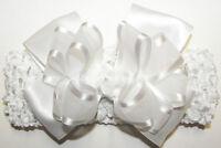 Baptism Headband White Bow Organza Satin Baby Infant Christening Crochet Band