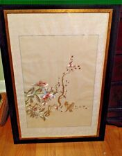 Oriental Silk Embroidery of Birds and Floral on White Silk Background