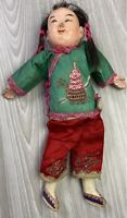 """Antique Vtg Composite Chinese Hand Painted Girl Doll Silk Clothing 10"""""""