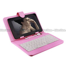 "Magnetic USB 2.0 Keyboard Case Leather Cover for 7"" Tablet PDA Android PC Pink"