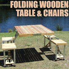 Portable Folding Wooden Aluminium Table Wood Chairs Fold Foldable Camping Picnic