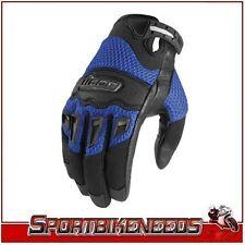Icon Twenty-Niner Blue Black Leather Gloves New Large LG