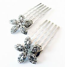 USA MINI Hair Comb Clip Hairpin use Swarovski Crystal Bridal Wedding silver 058